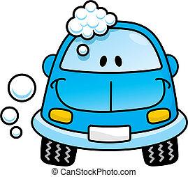 藍色的小汽車, 矢量, 洗滌