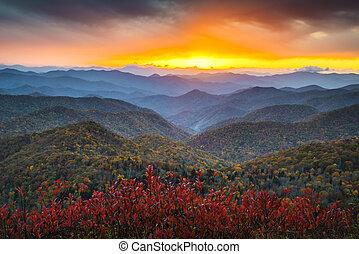 藍色的山, nc, 山脊, appalachian, 目的地, 假期, 秋天, 傍晚, 西方, 風景, 大路, 風景
