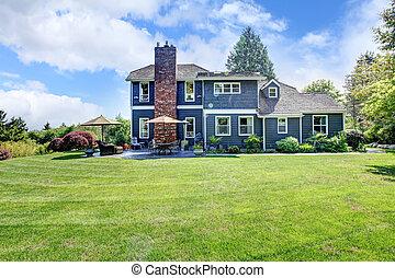 藍色的房子, 大, 草, chimney.