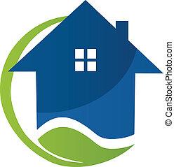 藍色的房子, 矢量, 葉子, 標識語