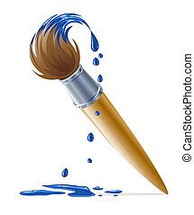 藍色的油漆, 畫, 滴下, 刷子
