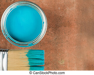 藍色的油漆, 錫, 刷子