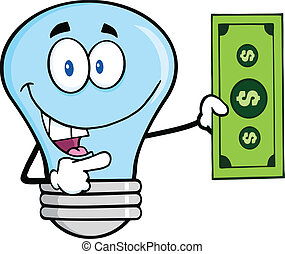 藍色的燈, 帳單, 美元, 燈泡