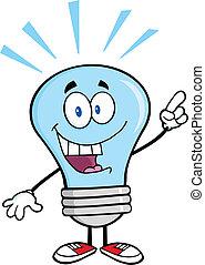 藍色的燈, 明亮的想法, 燈泡