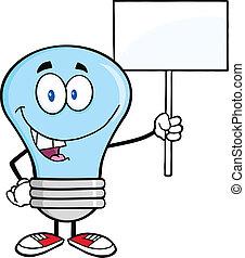 藍色的燈, 空白, 燈泡, 簽署
