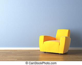 藍色的牆, 扶手椅子, 黃色, 設計, 內部