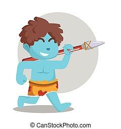 藍色的石頭, 跑, 穴居人, 矛