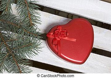 藍色的箱子, 板, 分支, 禮物, 木制, 錫, 繪, 形狀, white., 整洁漂亮, heart., 附近