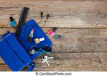 藍色, 事情, 頂部, 夫人, 附件, 婦女` s, purse., 化妝品, 觀點。, handbag., 打開, 落下, 在外