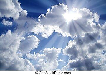 藍色, 云霧, 梁, 天空光, 白色