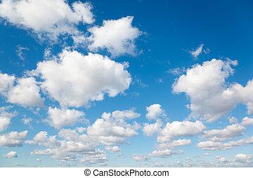 藍色, 云霧, sky., 絨毛狀, clouds., 背景, 白色