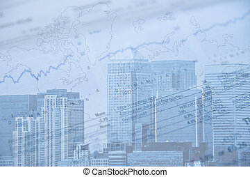 藍色, 代表, 給, 金融, 商業區, 圖像, 倫敦, 商標, 音調, 冷, 去除, 邊, 財政