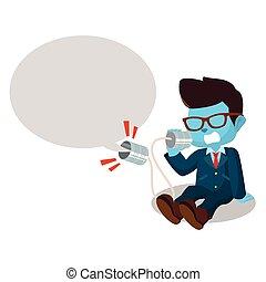 藍色, 呼喊, 商人, 罐頭, 電話