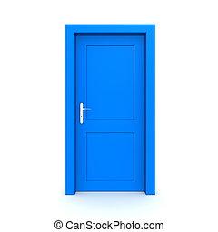藍色, 單個, 門, 關閉