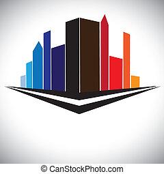 藍色, 城市, 建筑物, 布朗, 鮮艷, 塔, 摩天樓, 紫色, 橙, 顏色, 街道, 都市風景, 高, 确定, 紅色