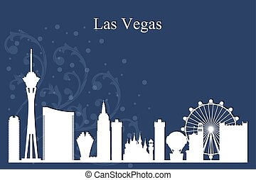 藍色, 城市, 黑色半面畫像, 地平線, vegas, 背景, las