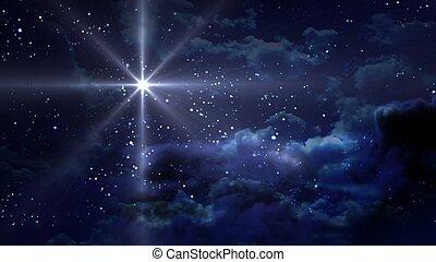 藍色, 夜晚, 不滿星星的