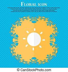 藍色, 套間, 太陽, 摘要, text., 矢量, 設計, 背景, 植物, 地方, 你