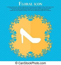 藍色, 套間, 婦女, 鞋子, 徵候。, text., 摘要, 矢量, 設計, 背景, 植物, 地方, 你, 圖象