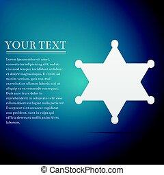 藍色, 套間, 星, 郡長, 插圖, 背景。, 矢量, 六線形, 徽章, 圖象
