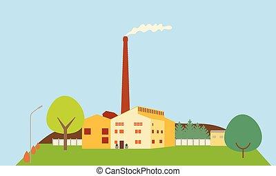 藍色, 套間, 樹, 天空, 工廠, 插圖, 煙, 設計, 小山, 在下面, 煙囪