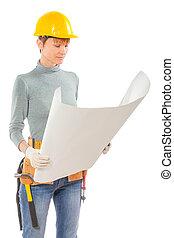 藍色, 女性, 工人, 看見, 建設, 藏品, 印刷品