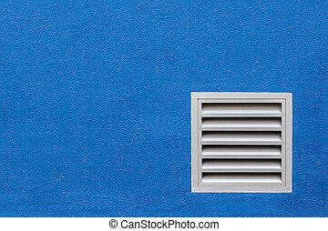 藍色, 孔, 白色的牆, 混凝土
