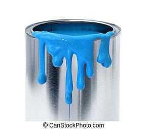 藍色, 容器, 滴下塗料, 罐頭能, 背景, 厚, 白色