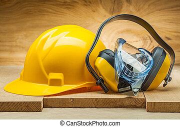 藍色, 工具, 黃色, 風鏡, 安全, helmet., 耳機