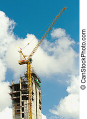 藍色, 建筑物, 工作, 起重機, 裡面, 天空, 建設, 在下面, 高