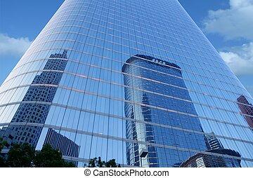 藍色, 建筑物, 玻璃, 摩天樓, 鏡子, 正面