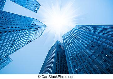 藍色, 摘要, 摩天樓, 建築物
