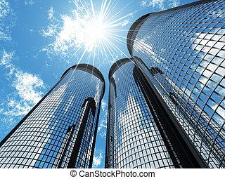 藍色, 摩天樓, 光, 現代, 天空, 背景, 高, 太陽, 補丁