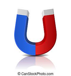 藍色, 擦亮, 磁鐵, 有光澤, 背景, 白色紅