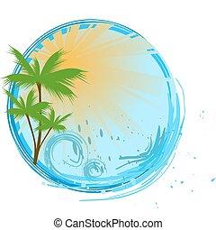 藍色, 旗幟, 棕櫚, 輪