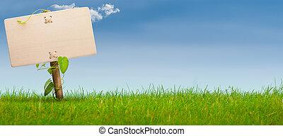 藍色, 旗幟, 簽署, 天空, 綠色, 水平