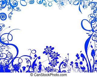 藍色, 框架, 葉子