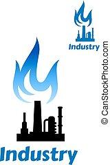 藍色, 植物, 工業, 火焰, 圖象