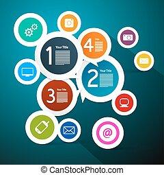 藍色, 樣板, 鮮艷, 圖象, infographic, 紙, 背景, 環繞, 技術