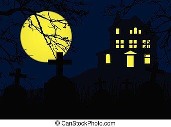 藍色, 樹, 充分, 分支, 墓地, 墓碑, 房子, 恐怖, -, 万圣節, 黃色的月亮, 縈繞心頭, 小山, 上面, 邀請, 黨, 死, 天空