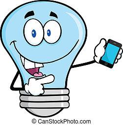 藍色, 流動, 燈泡, 電話, 光