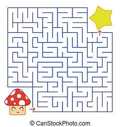 藍色, 漂亮, 廣場, illustration., 蘑菇, labyrinth., 簡單, 有趣味, 摘要, star., 被隔离, 套間, 卡通, 顏色, 游戲, 矢量, 背景。, children., 路徑, 白色, 發現
