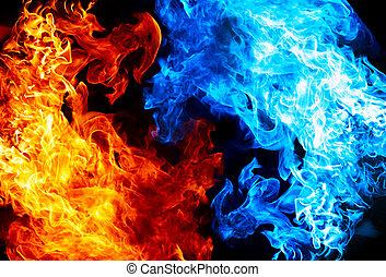 藍色, 火, 紅色