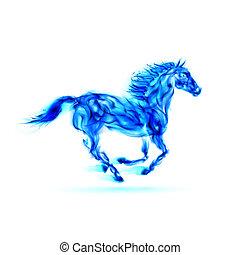藍色, 火, 跑, horse.