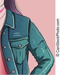 藍色, 牛仔布, 風格, jacket., 城市, 圖像, 婦女, 穿, 牛仔褲, 衣服, 向上關閉