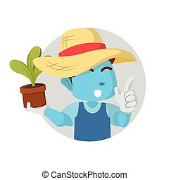 藍色, 男孩, 顯示, 植物, 園丁