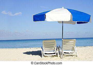 藍色, 白色的傘