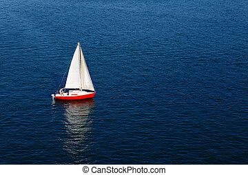 藍色, 白色的帆, 孤獨, 平靜