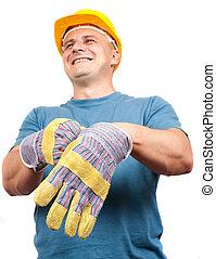 藍色, 皮革, 工人, 保護, 手套, 放, 衣領