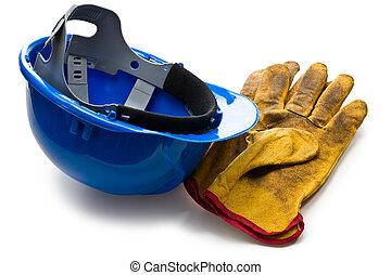 藍色, 皮革, 手套, 工作, hardhat